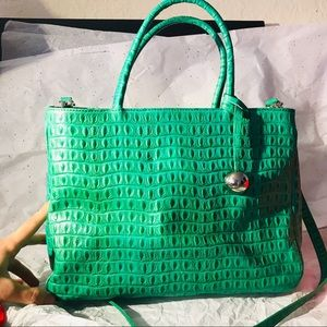 Furla genuine leather green gator shoulder purse